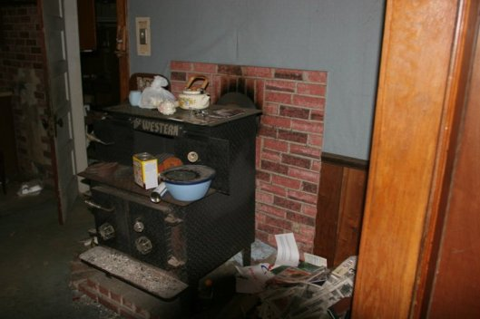 This was the only source of heat they had for the whole house.  It used to be setting beside the door that goes into the laundry room.