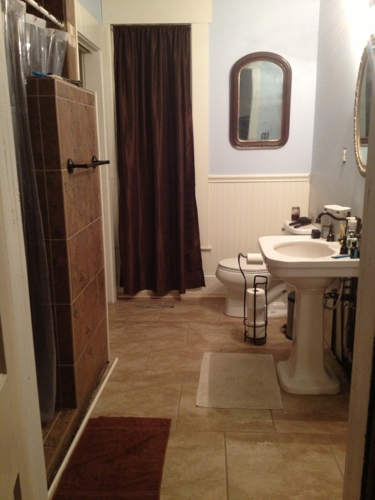 After! The pedestal sink was salvaged from the upstairs bathroom.